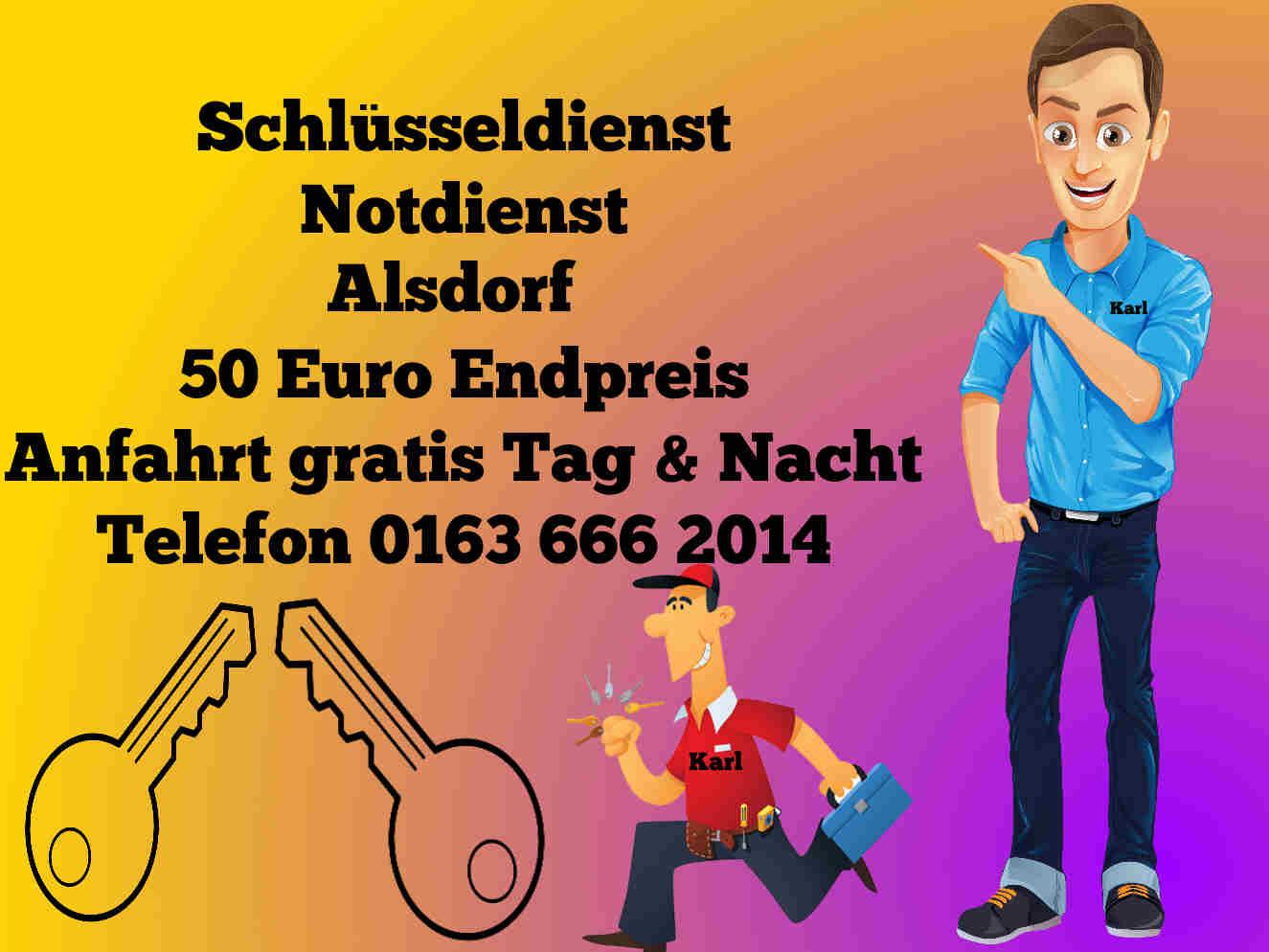 Schlüsselnotdienst Alsdorf - 50 Euro Endpreis - Notdienst & Tür öffnen zum Festpreis Tag und Nacht
